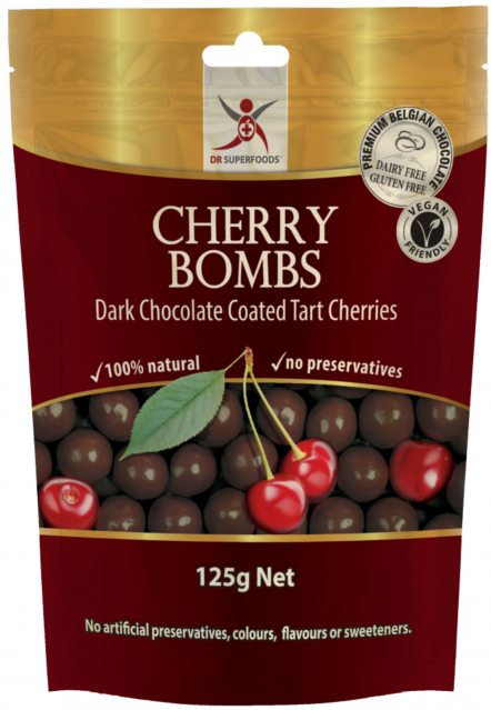 cherry bombs, dark chocolate tart cherries, belgian chocolate